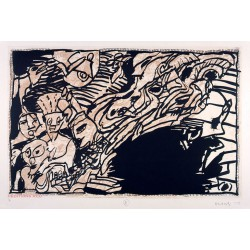 La prise à revers - Sur l'écorce E - Gravure de Pierre Alechinsky